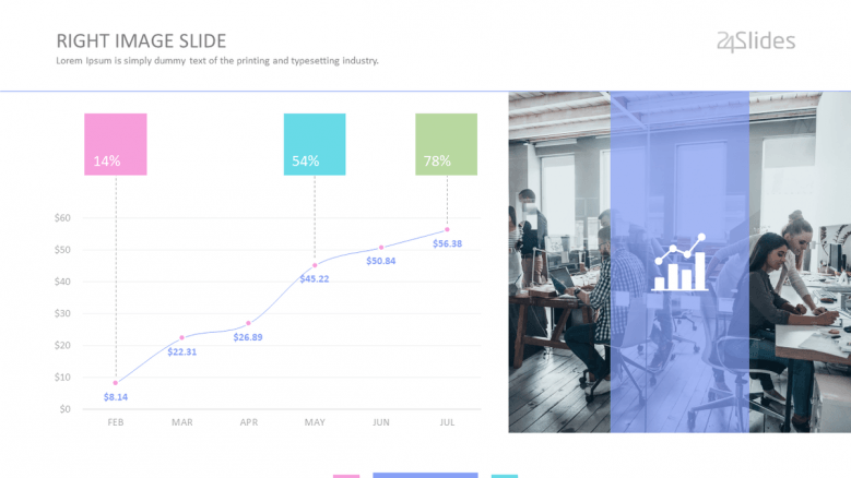 corporate generic data slide with line chart