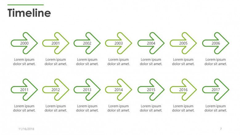timeline slide in yearly planning with arrows