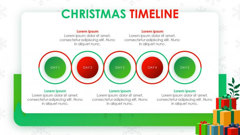 Playful five-stage Christmas Timeline in red and green