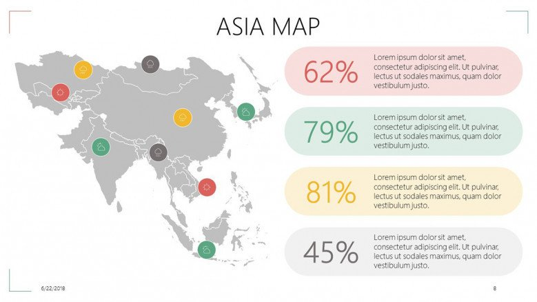 Asia map with data information in descriptive labels