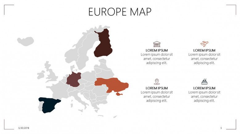 Europe map with highlighted countries and description text