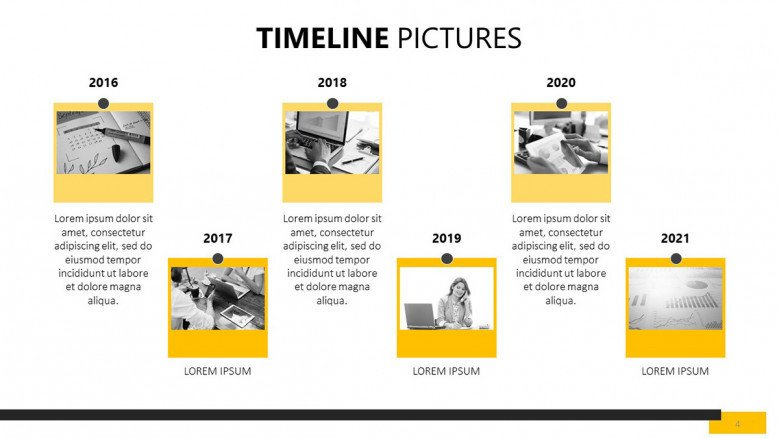yearly timeline picture slide with comment box