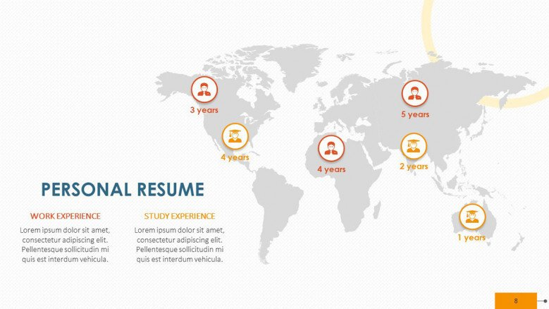 creative personal resume with world map