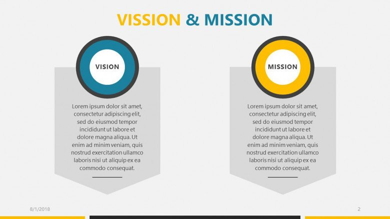 business roadmap presentation vision and mission slide with text