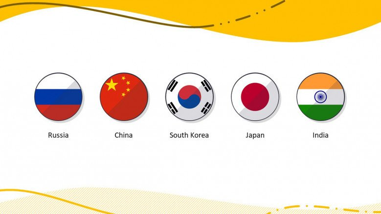 Country flag icons in PowerPoint such as India, Japan, South Korea, China