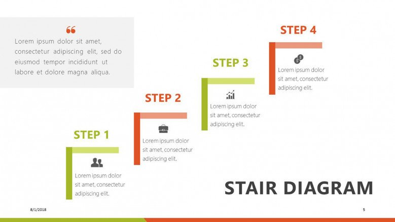step stair diagram presentation slide in four steps