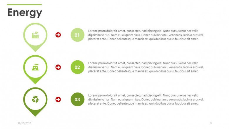 three key factors of energy with text and icons