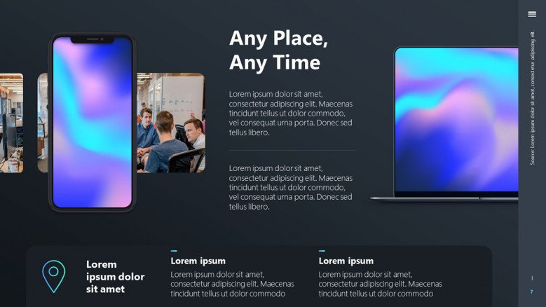 Modern slide for a Tech product release presentation