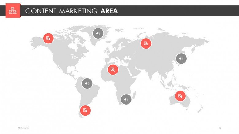 digital marketing content area with world map