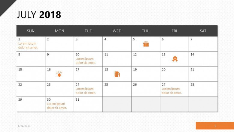 july 2018 calendar with events agenda
