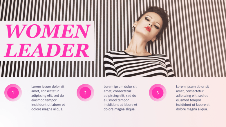 Woman in stripes background and shirt with 3 section texts