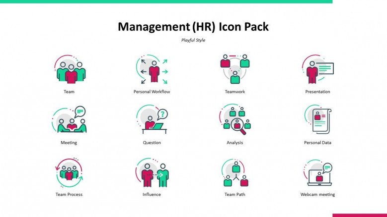 management human resource icons in playful style