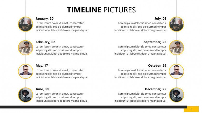 eight sequenced timeline picture slides