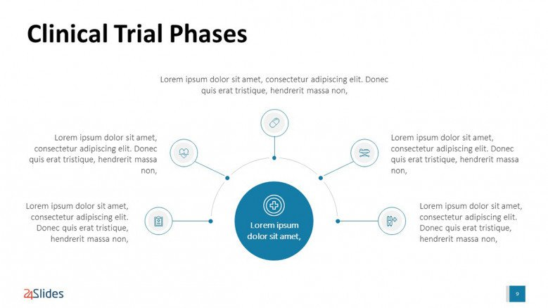 Circle PowerPoint Diagram for Clinical Trial Presentation