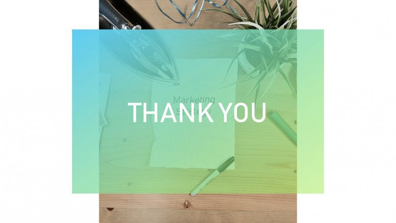 Thank you slide with a transparent element in the center