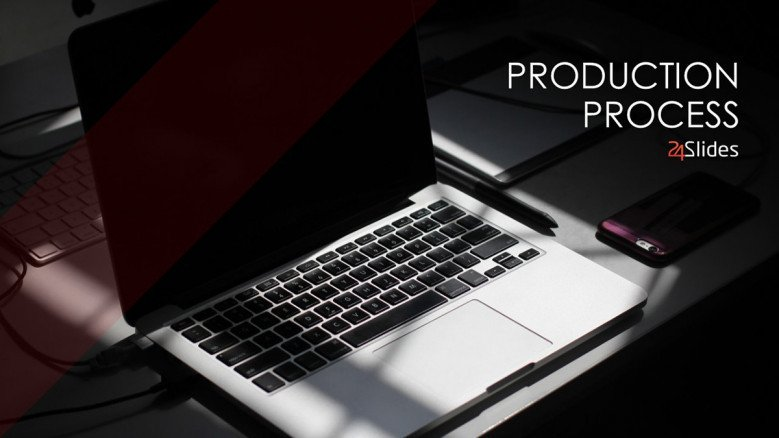 production process welcome slide with image in creative style