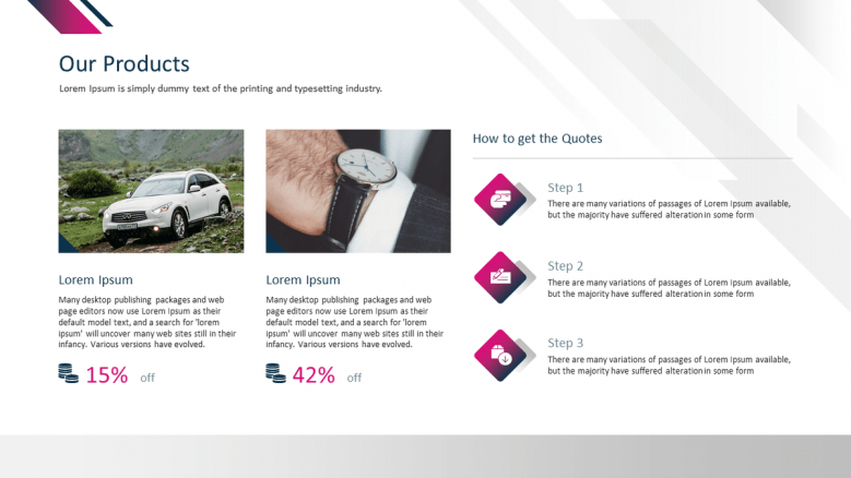 corporate presentation product slide with text and image