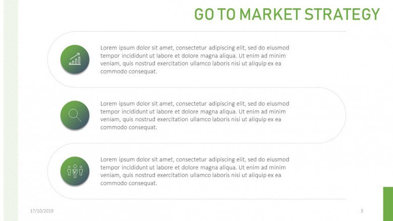 Three-Stages Vertical Diagram for a creative Go To Market Presentation
