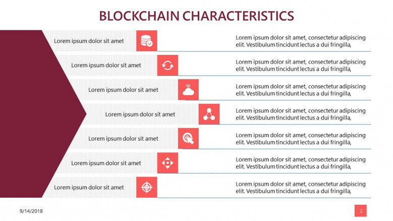 block chain data characteristic slide with text and icons