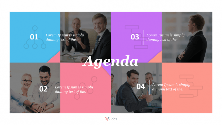 Agenda slide with multiple colours