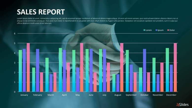 Sales report presentation slide with colorful bar graph