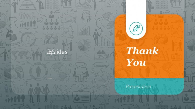 Creative Thank You Slide with business doodles as background