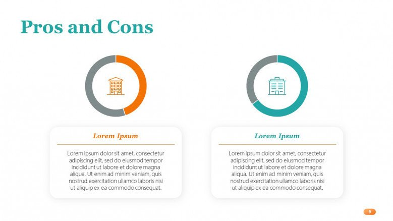 Pros and Cons Slide featuring data-driven circle charts