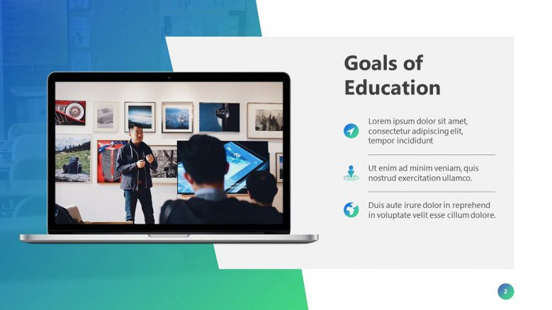Goals of Education Slide with a laptop image