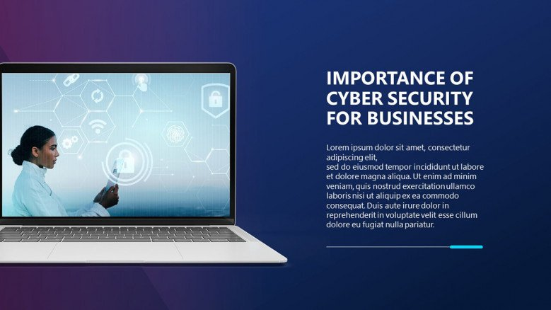 Cyber security importance slide with a laptop