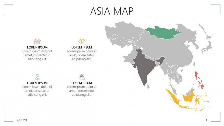 Asia map with highlighted regions and description text with icons
