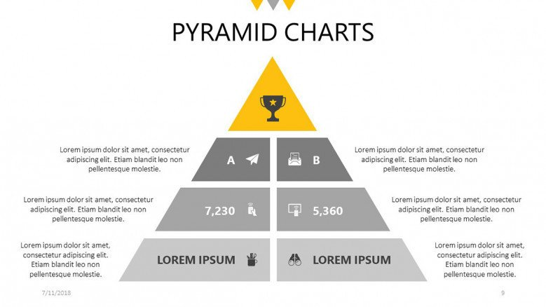 business pyramid chart with text