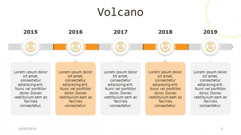 Horizontal five-stages timeline with volcano flat icons
