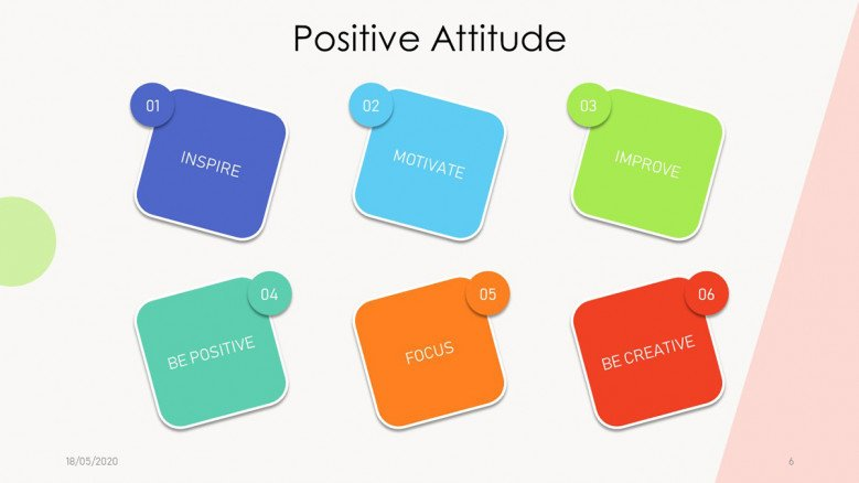 Positive Attitude Slide with six boxes