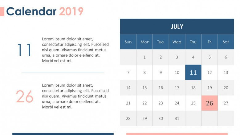 2019 calendar in July with daily plan description