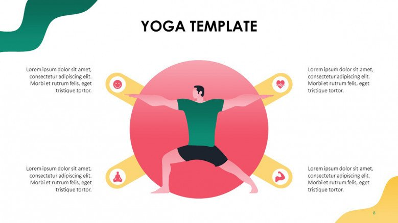 Male illustration in a yoga pose with icons