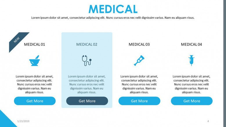 medical presentation with four segments and icons