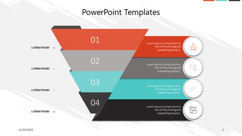 corporate slide with funnel diagram and key factors
