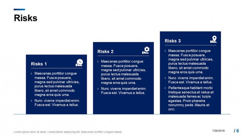 Project's risks slide with blue boxes