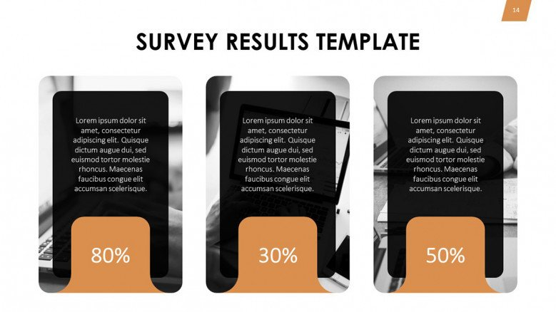 Three boxes for survey results