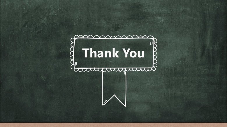 Thank You Slide with a chalkboard background