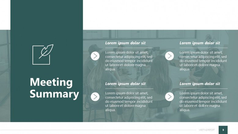 Meeting Summary Slide in sober green colors