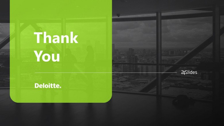 Thank you PowerPoint Slide in corporate green and black colors