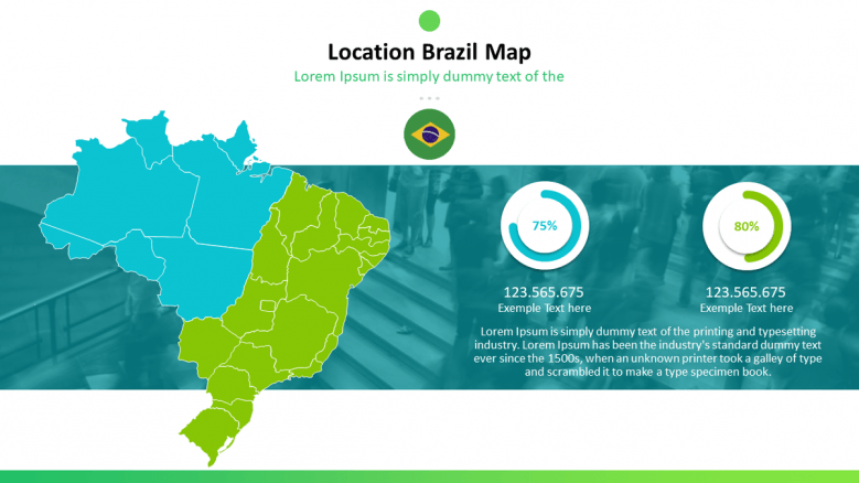 Brazil map with data percentage in compared circle chart