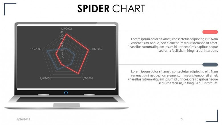 Spider chart website display in macbook with two key summary text