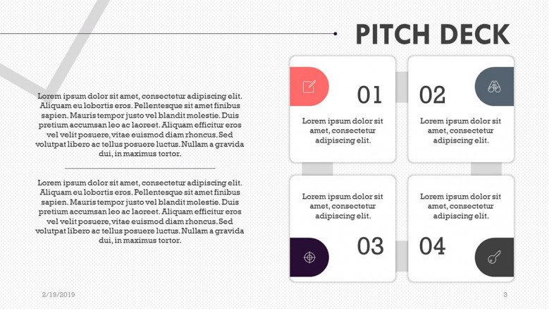 pitch deck presentation in matrix chart with text box