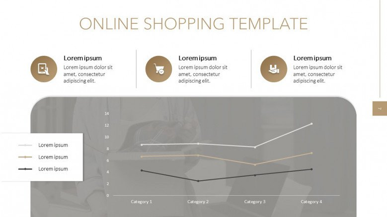 Online Shop data Slide with a line chart