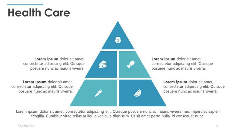 healthcare slide in pyramid diagram with food icons