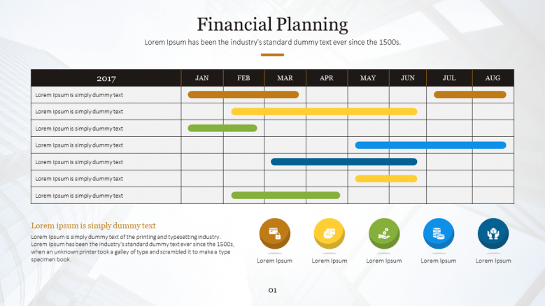 financial planning slide in tables