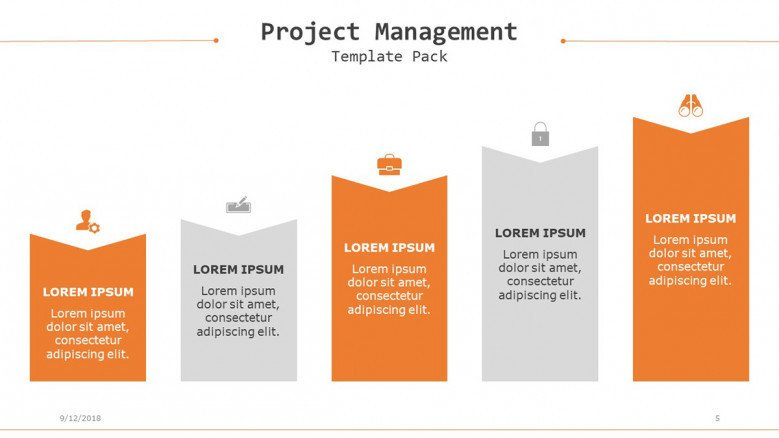 project management slide with stair diagram
