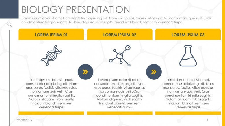 Biology process of three steps with science icons